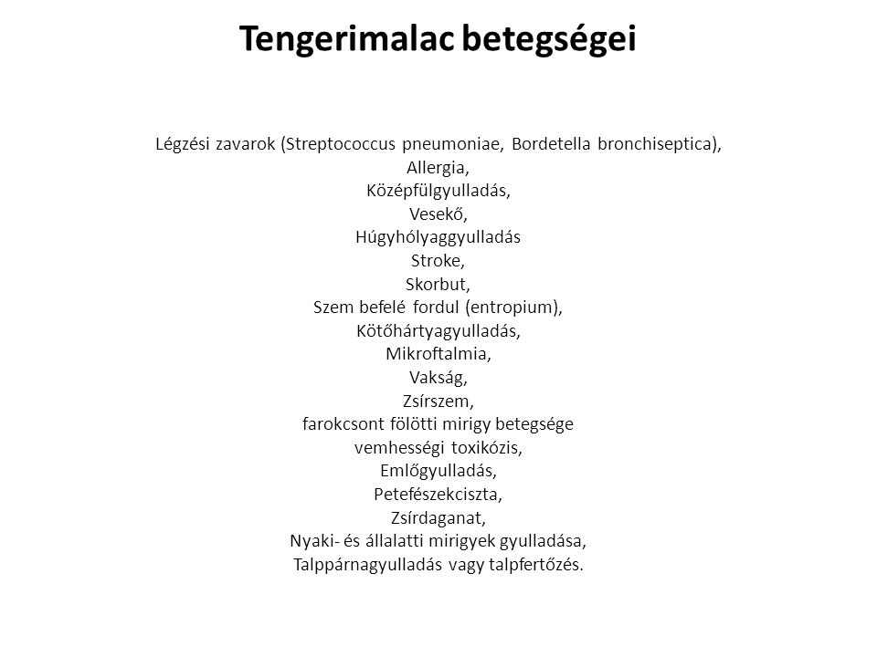 Tengerimalac betegségei