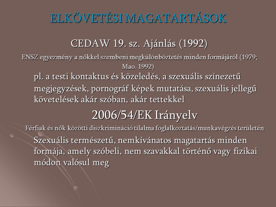 ELKÖVETÉSI MAGATARTÁSOK CEDAW 19. sz
