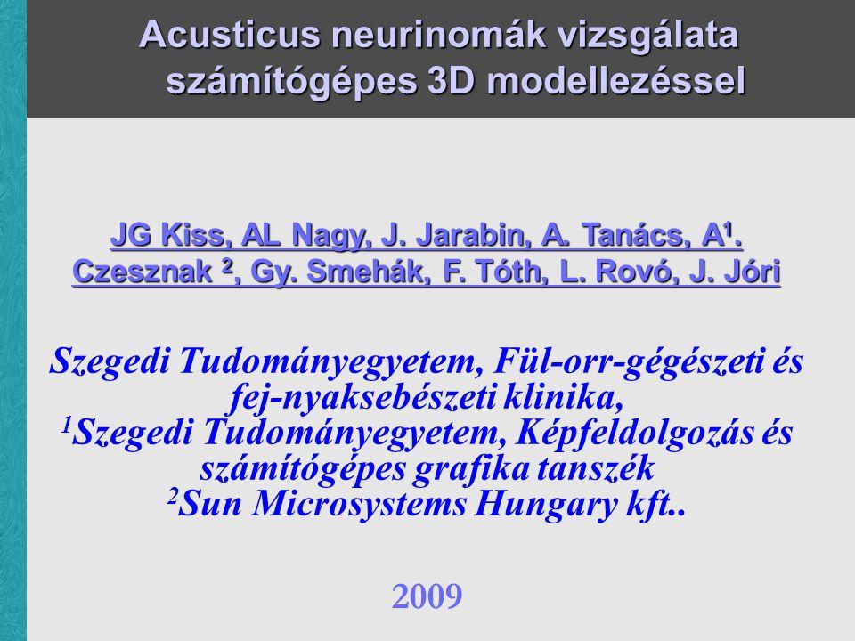 Acusticus neurinomák vizsgálata számítógépes 3D modellezéssel