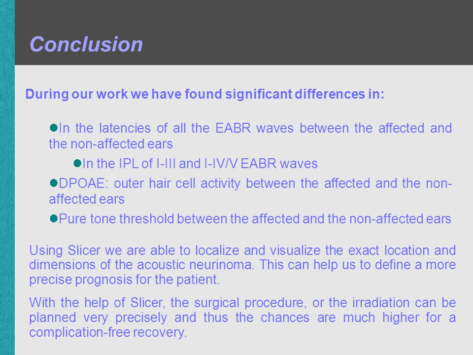 Conclusion During our work we have found significant differences in: