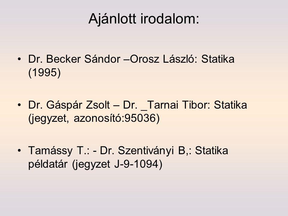 Ajánlott irodalom: Dr. Becker Sándor –Orosz László: Statika (1995)