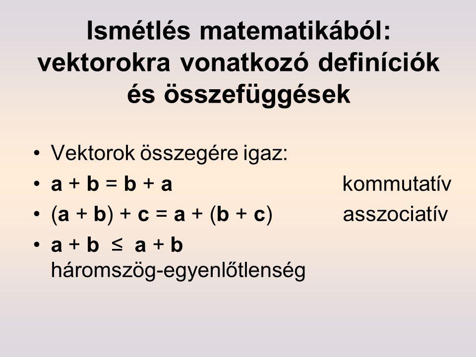 Ismétlés matematikából: vektorokra vonatkozó definíciók és összefüggések