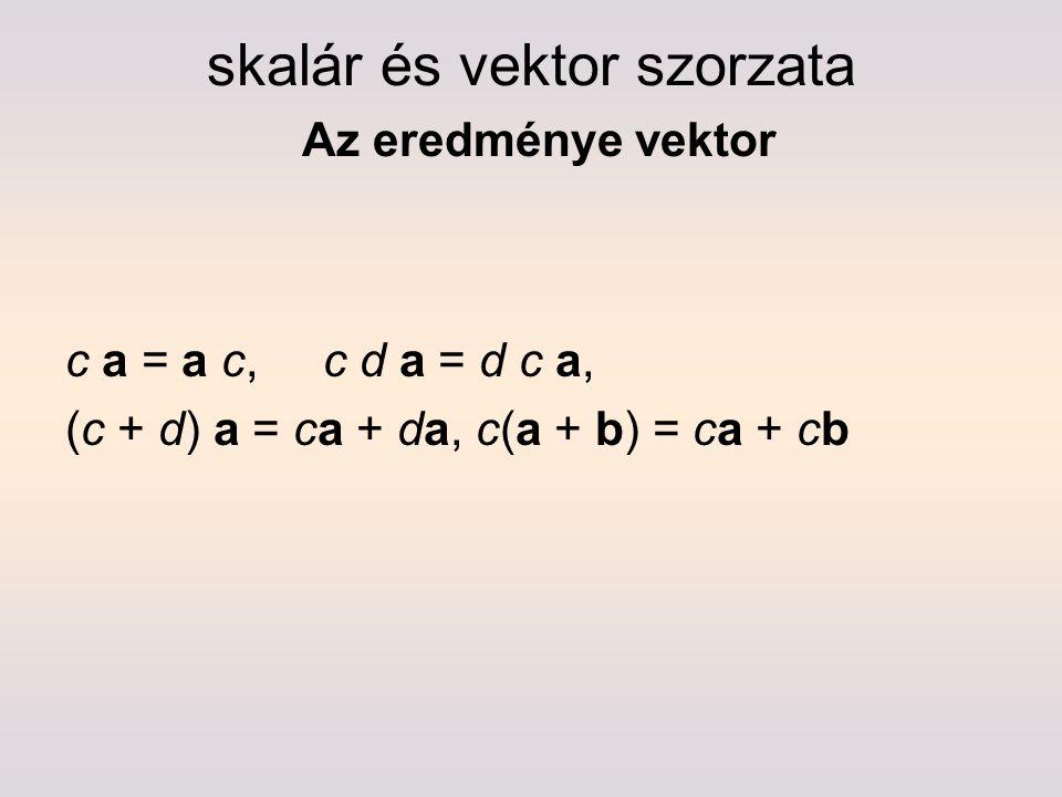 skalár és vektor szorzata Az eredménye vektor
