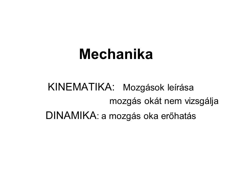 Mechanika KINEMATIKA: Mozgások leírása DINAMIKA: a mozgás oka erőhatás