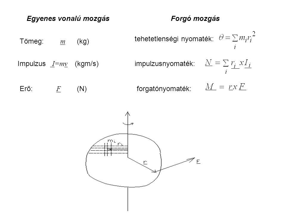Egyenes vonalú mozgás Forgó mozgás. tehetetlenségi nyomaték: Tömeg: m (kg) Impulzus I=mv (kgm/s)