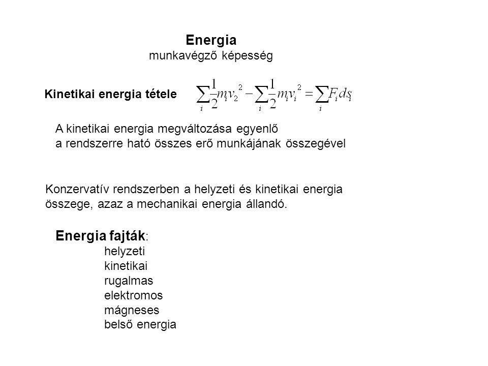 Energia Energia fajták: munkavégző képesség Kinetikai energia tétele