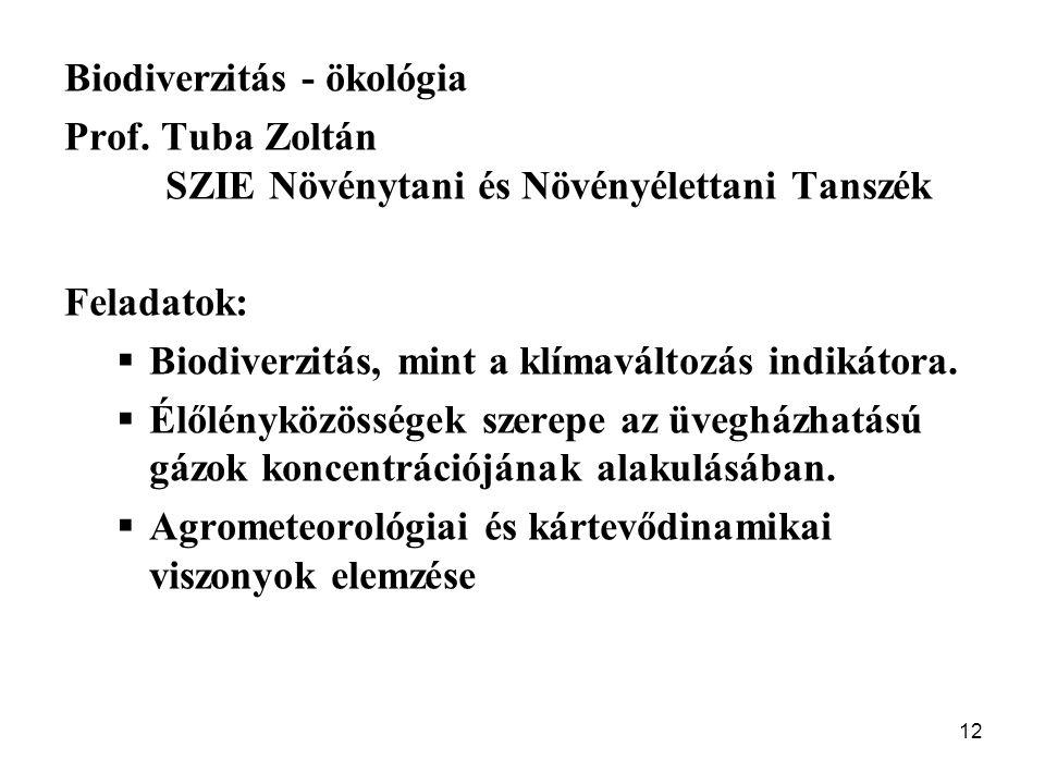 Biodiverzitás - ökológia