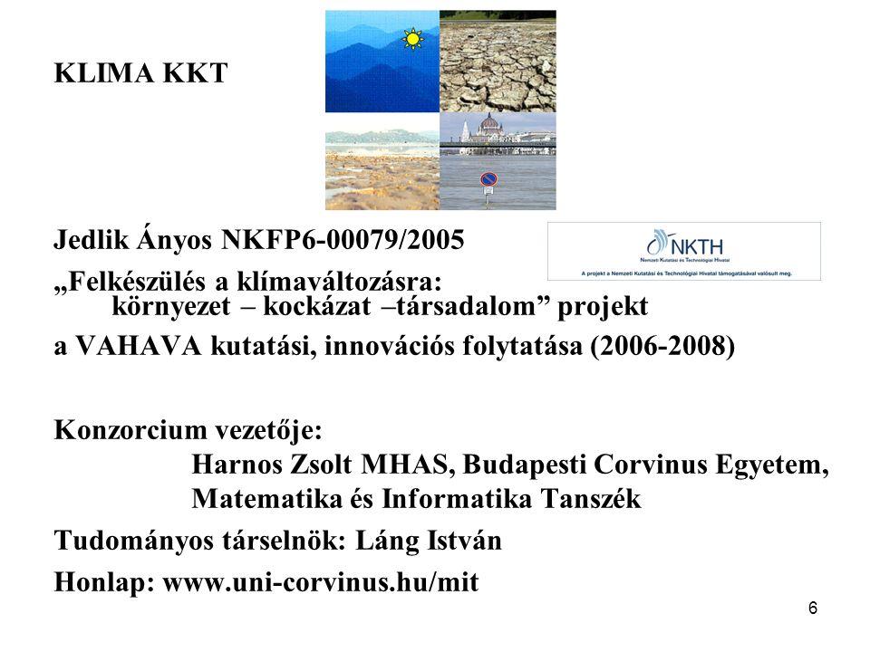 """KLIMA KKT Jedlik Ányos NKFP6-00079/2005. """"Felkészülés a klímaváltozásra: környezet – kockázat –társadalom projekt."""