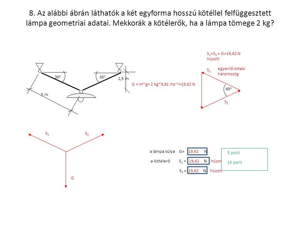 8. Az alábbi ábrán láthatók a két egyforma hosszú kötéllel felfüggesztett lámpa geometriai adatai. Mekkorák a kötélerők, ha a lámpa tömege 2 kg