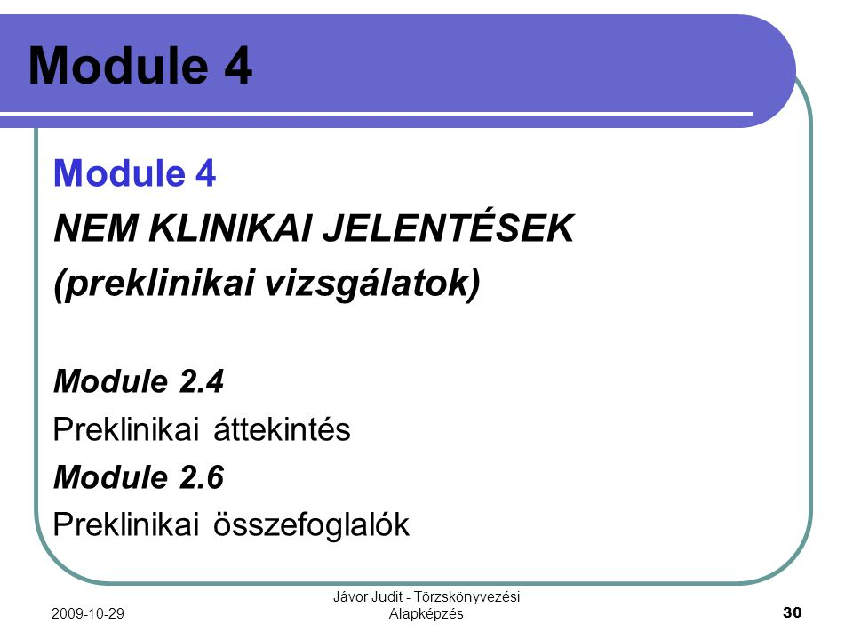 Jávor Judit - Törzskönyvezési Alapképzés