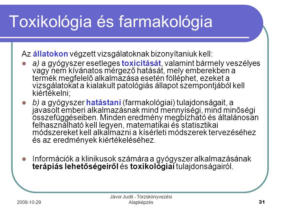 Toxikológia és farmakológia