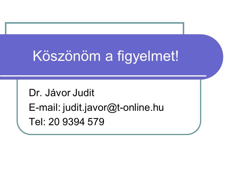 Dr. Jávor Judit E-mail: judit.javor@t-online.hu Tel: 20 9394 579