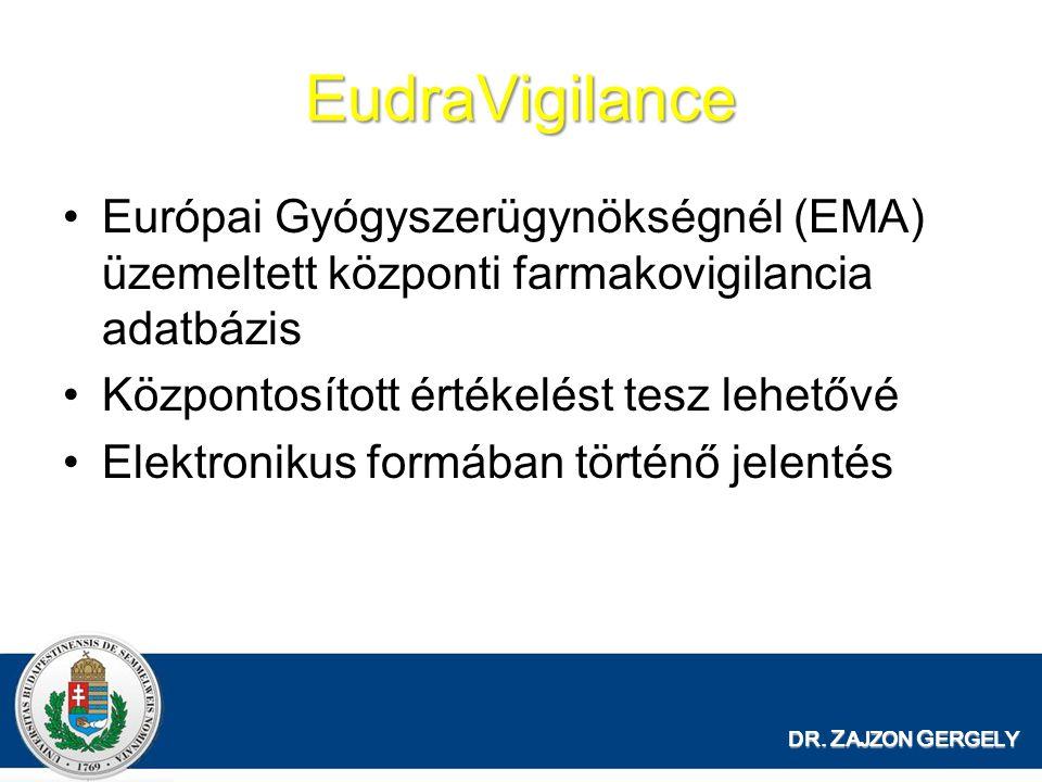 EudraVigilance Európai Gyógyszerügynökségnél (EMA) üzemeltett központi farmakovigilancia adatbázis.