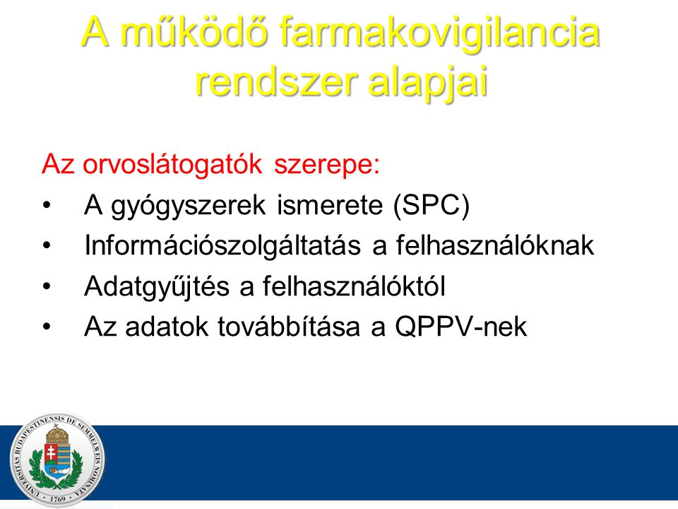 A működő farmakovigilancia rendszer alapjai