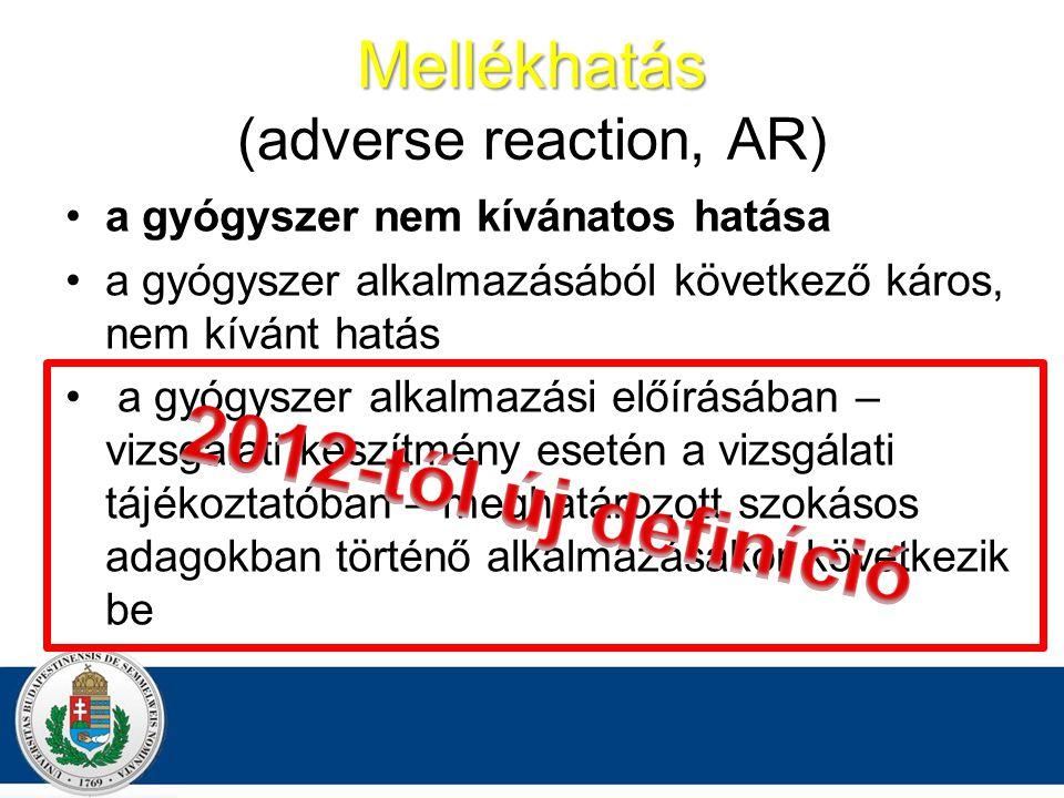 Mellékhatás (adverse reaction, AR)