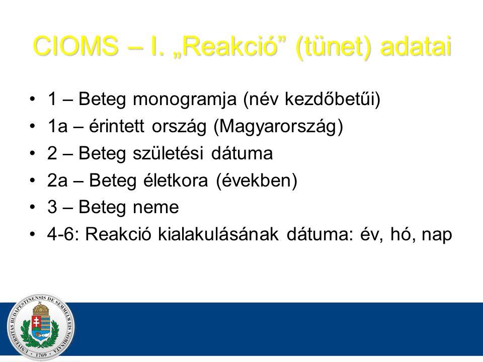 """CIOMS – I. """"Reakció (tünet) adatai"""
