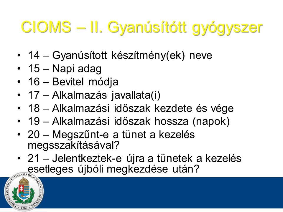 CIOMS – II. Gyanúsítótt gyógyszer