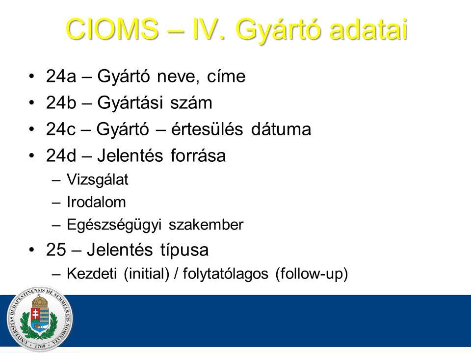 CIOMS – IV. Gyártó adatai