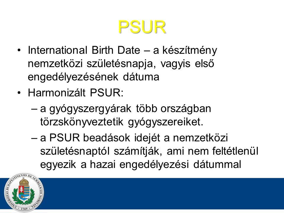 PSUR International Birth Date – a készítmény nemzetközi születésnapja, vagyis első engedélyezésének dátuma.