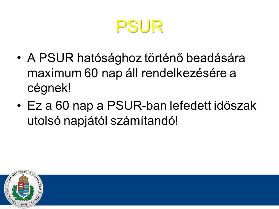 PSUR A PSUR hatósághoz történő beadására maximum 60 nap áll rendelkezésére a cégnek!