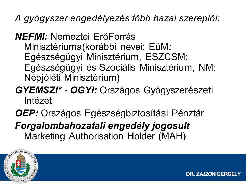 A gyógyszer engedélyezés főbb hazai szereplői: