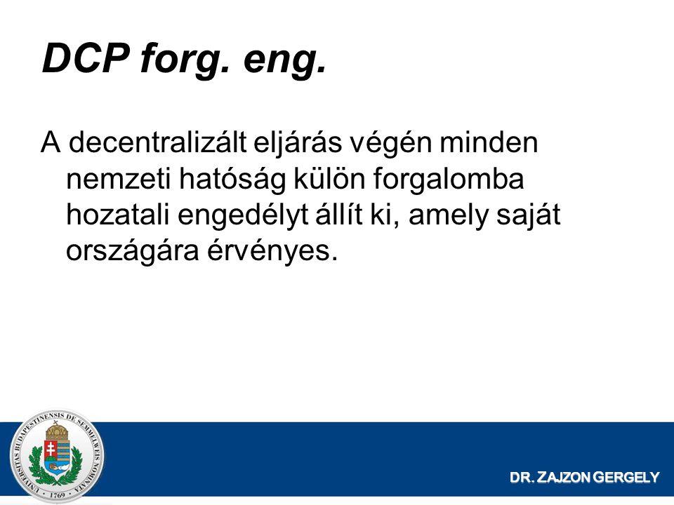 DCP forg. eng. A decentralizált eljárás végén minden nemzeti hatóság külön forgalomba hozatali engedélyt állít ki, amely saját országára érvényes.
