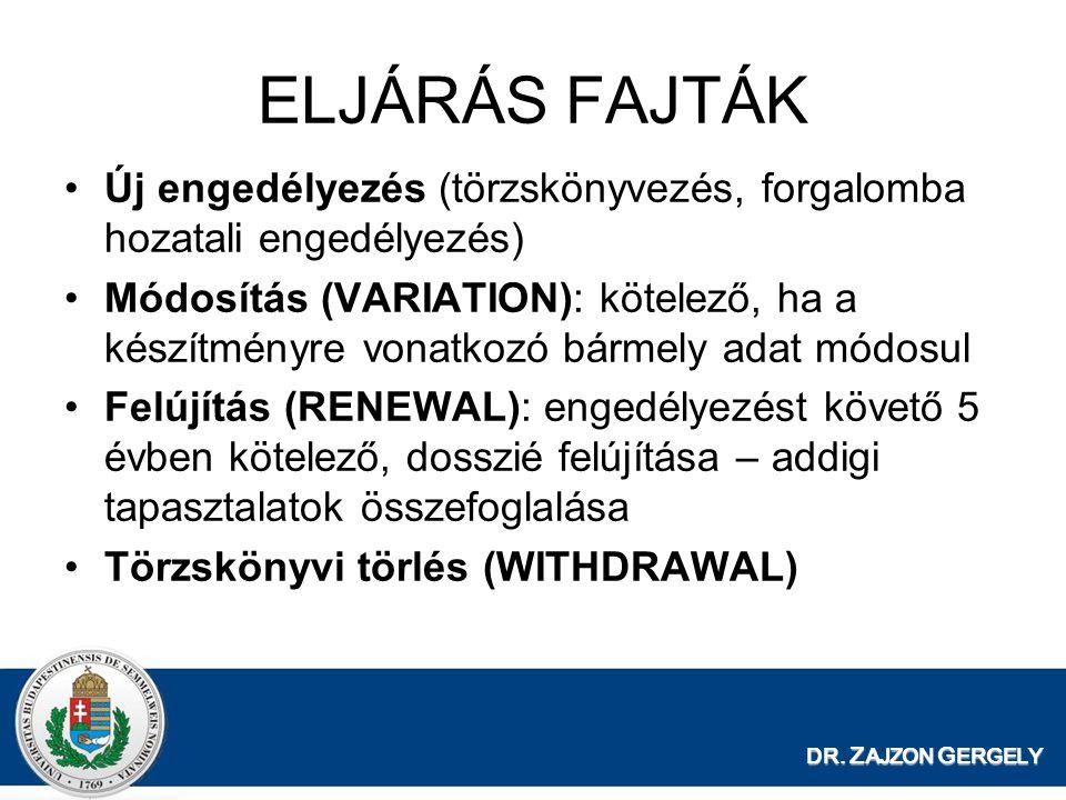 ELJÁRÁS FAJTÁK Új engedélyezés (törzskönyvezés, forgalomba hozatali engedélyezés)