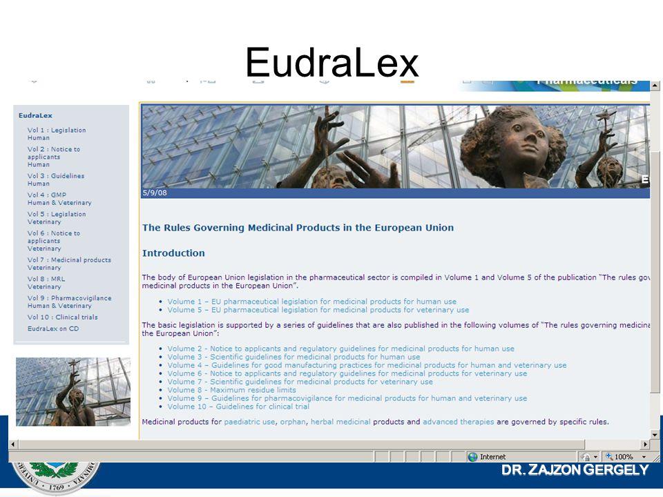 EudraLex DR. ZAJZON GERGELY