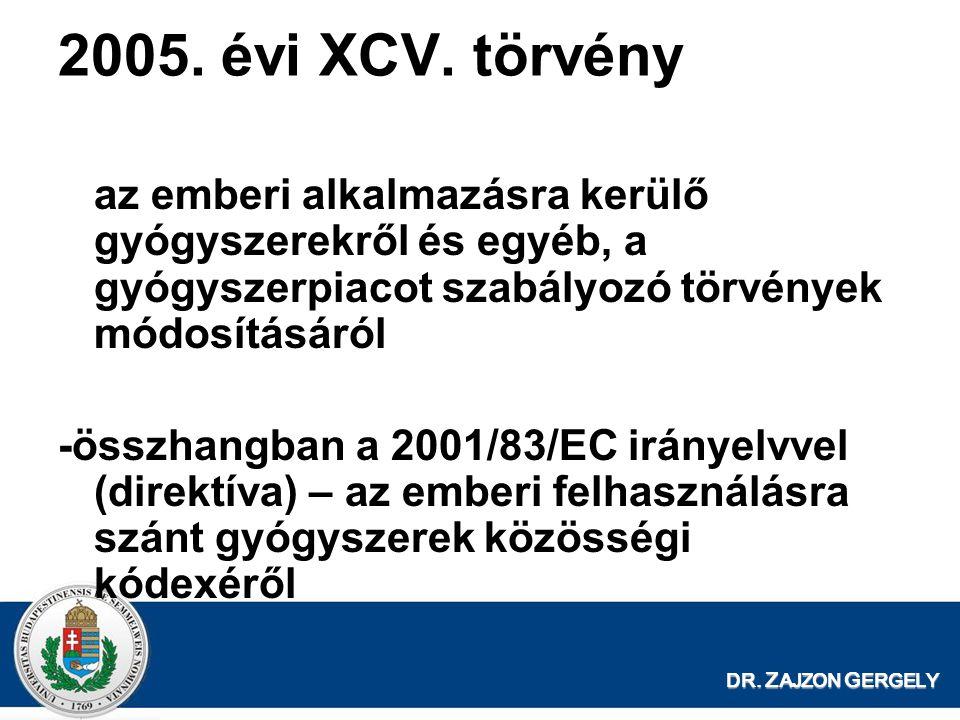 2005. évi XCV. törvény az emberi alkalmazásra kerülő gyógyszerekről és egyéb, a gyógyszerpiacot szabályozó törvények módosításáról.