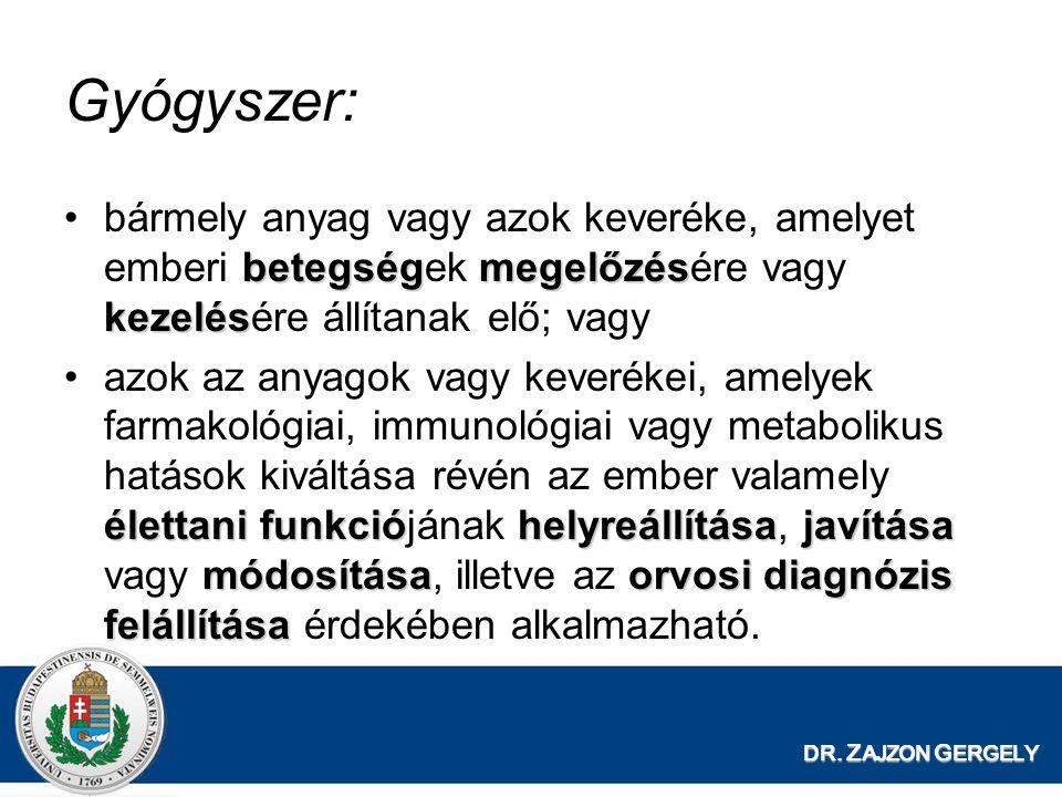 Gyógyszer: bármely anyag vagy azok keveréke, amelyet emberi betegségek megelőzésére vagy kezelésére állítanak elő; vagy.