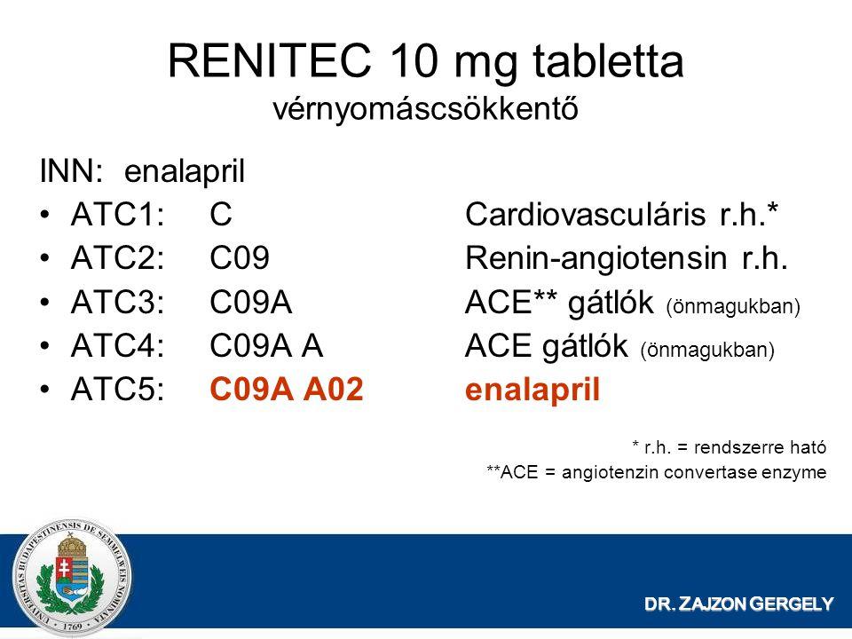 RENITEC 10 mg tabletta vérnyomáscsökkentő