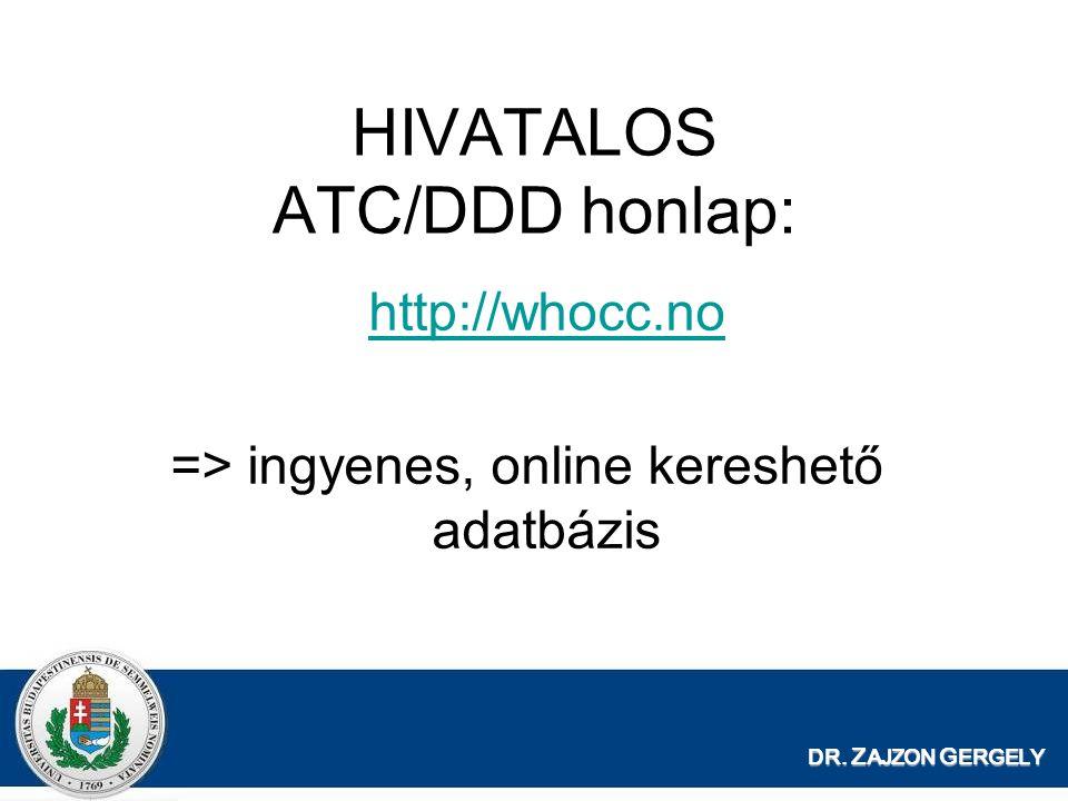 HIVATALOS ATC/DDD honlap: