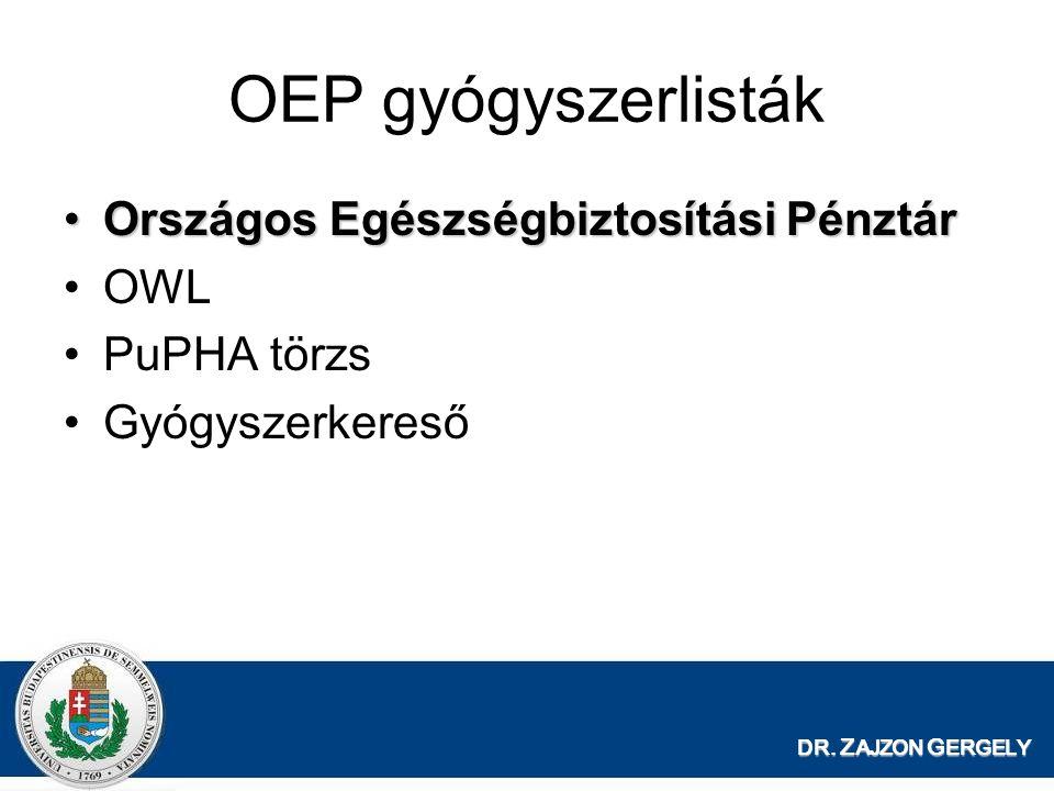 OEP gyógyszerlisták Országos Egészségbiztosítási Pénztár OWL