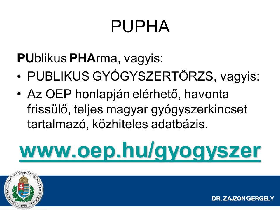 www.oep.hu/gyogyszer PUPHA PUblikus PHArma, vagyis: