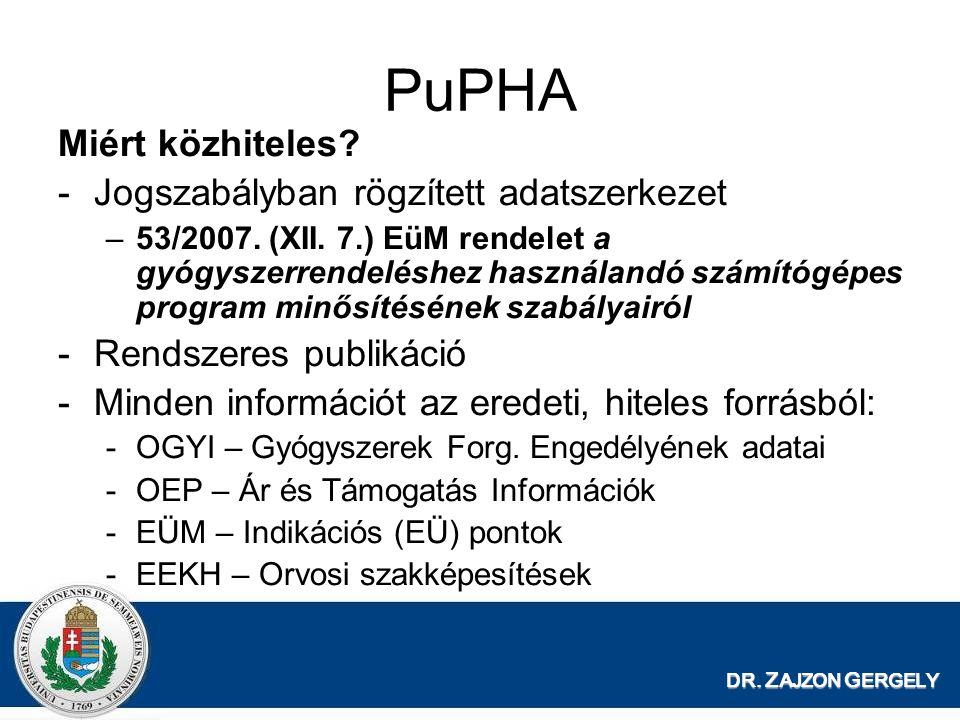 PuPHA Miért közhiteles Jogszabályban rögzített adatszerkezet