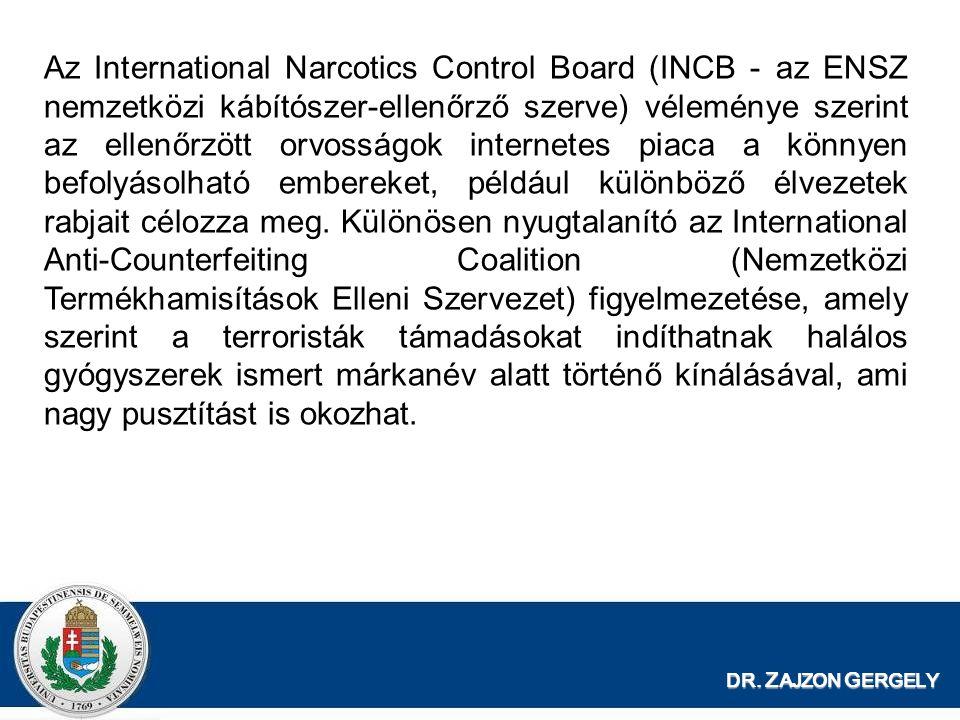 Az International Narcotics Control Board (INCB - az ENSZ nemzetközi kábítószer-ellenőrző szerve) véleménye szerint az ellenőrzött orvosságok internetes piaca a könnyen befolyásolható embereket, például különböző élvezetek rabjait célozza meg. Különösen nyugtalanító az International Anti-Counterfeiting Coalition (Nemzetközi Termékhamisítások Elleni Szervezet) figyelmezetése, amely szerint a terroristák támadásokat indíthatnak halálos gyógyszerek ismert márkanév alatt történő kínálásával, ami nagy pusztítást is okozhat.