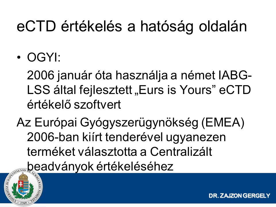 eCTD értékelés a hatóság oldalán