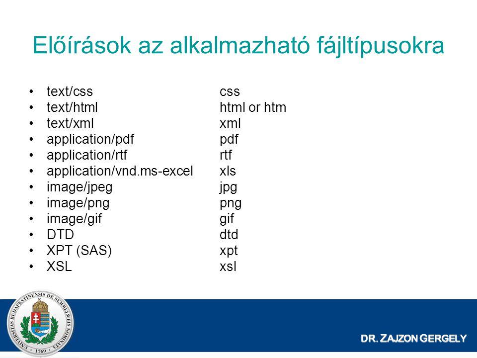 Előírások az alkalmazható fájltípusokra