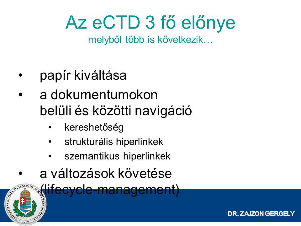 Az eCTD 3 fő előnye melyből több is következik…