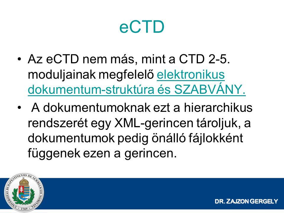 eCTD Az eCTD nem más, mint a CTD 2-5. moduljainak megfelelő elektronikus dokumentum-struktúra és SZABVÁNY.
