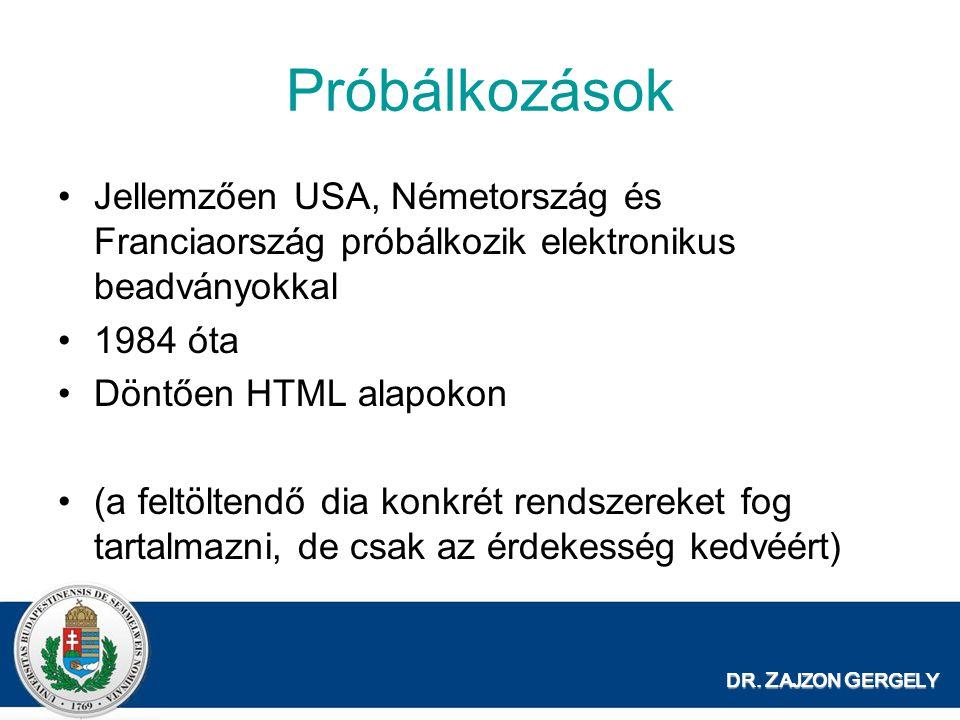 Próbálkozások Jellemzően USA, Németország és Franciaország próbálkozik elektronikus beadványokkal. 1984 óta.