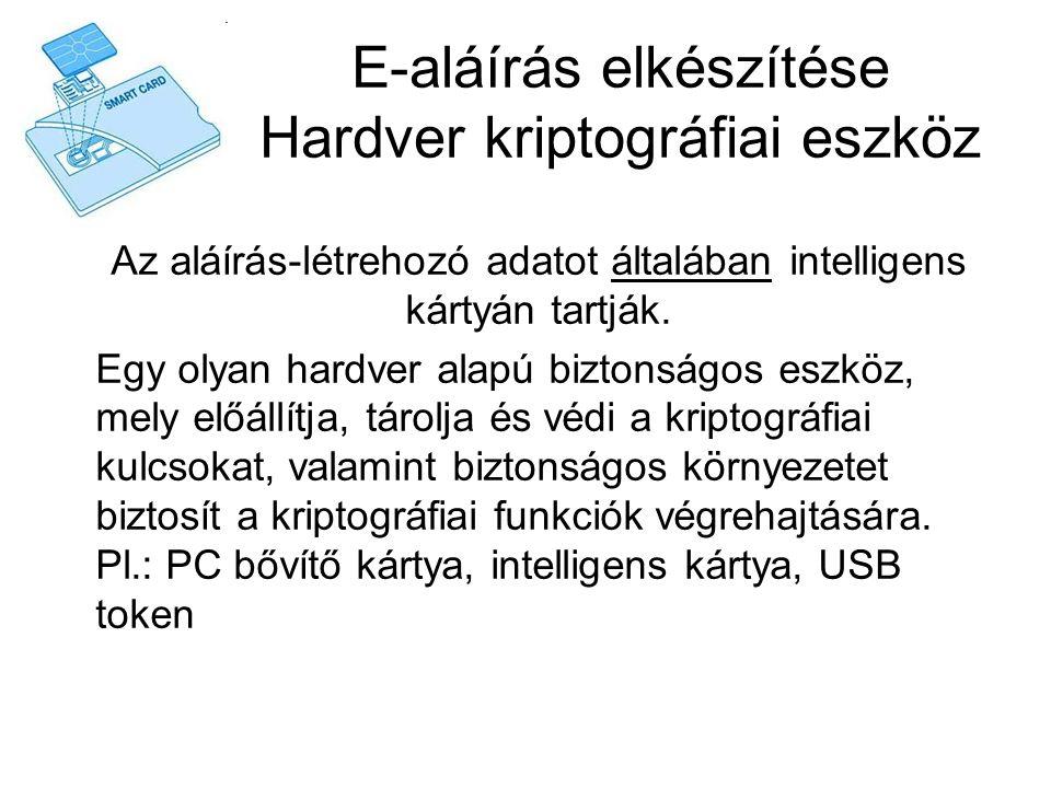 E-aláírás elkészítése Hardver kriptográfiai eszköz