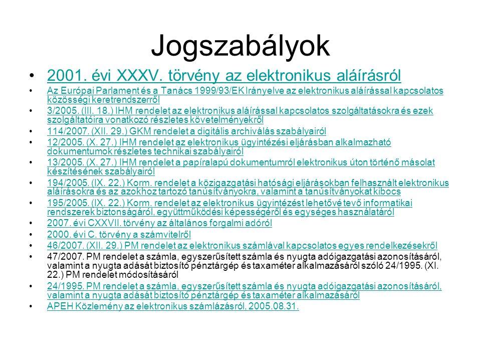 Jogszabályok 2001. évi XXXV. törvény az elektronikus aláírásról
