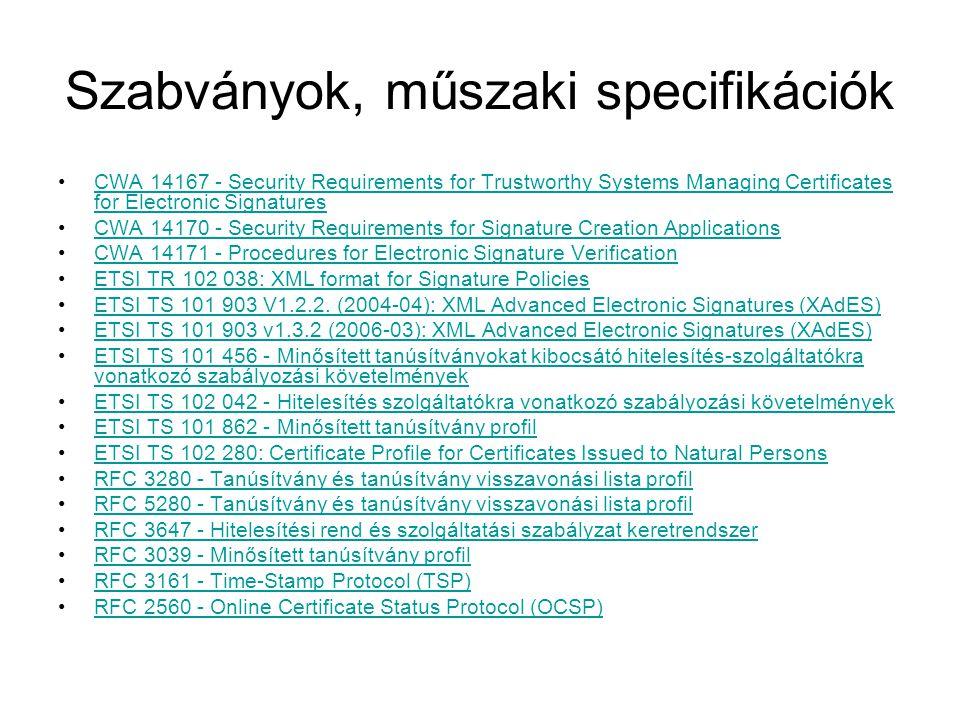 Szabványok, műszaki specifikációk