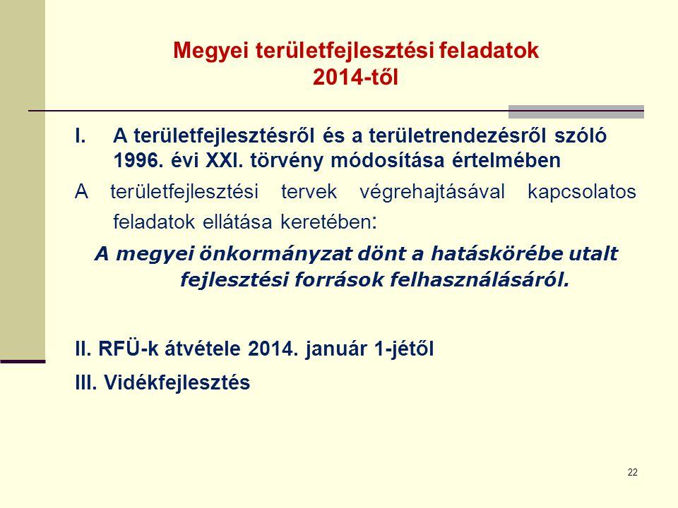 Megyei területfejlesztési feladatok 2014-től