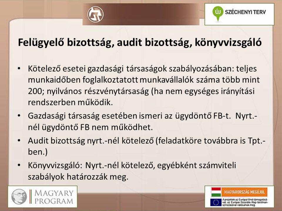 Felügyelő bizottság, audit bizottság, könyvvizsgáló