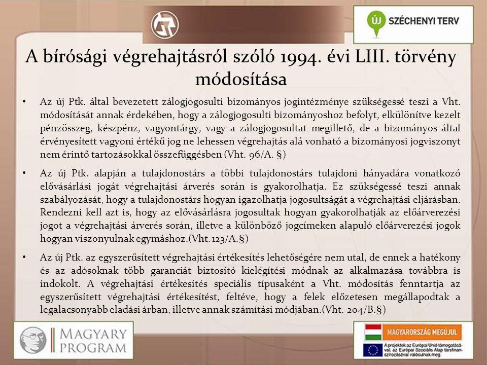 A bírósági végrehajtásról szóló 1994. évi LIII. törvény módosítása