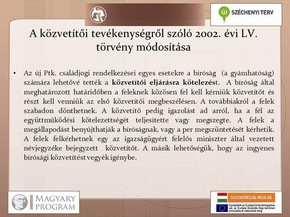 A közvetítői tevékenységről szóló 2002. évi LV. törvény módosítása