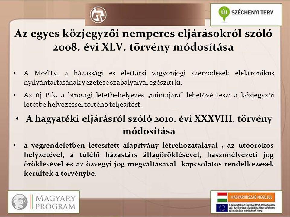 A hagyatéki eljárásról szóló 2010. évi XXXVIII. törvény módosítása