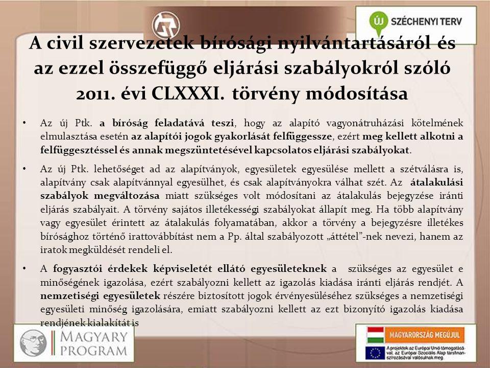 A civil szervezetek bírósági nyilvántartásáról és az ezzel összefüggő eljárási szabályokról szóló 2011. évi CLXXXI. törvény módosítása